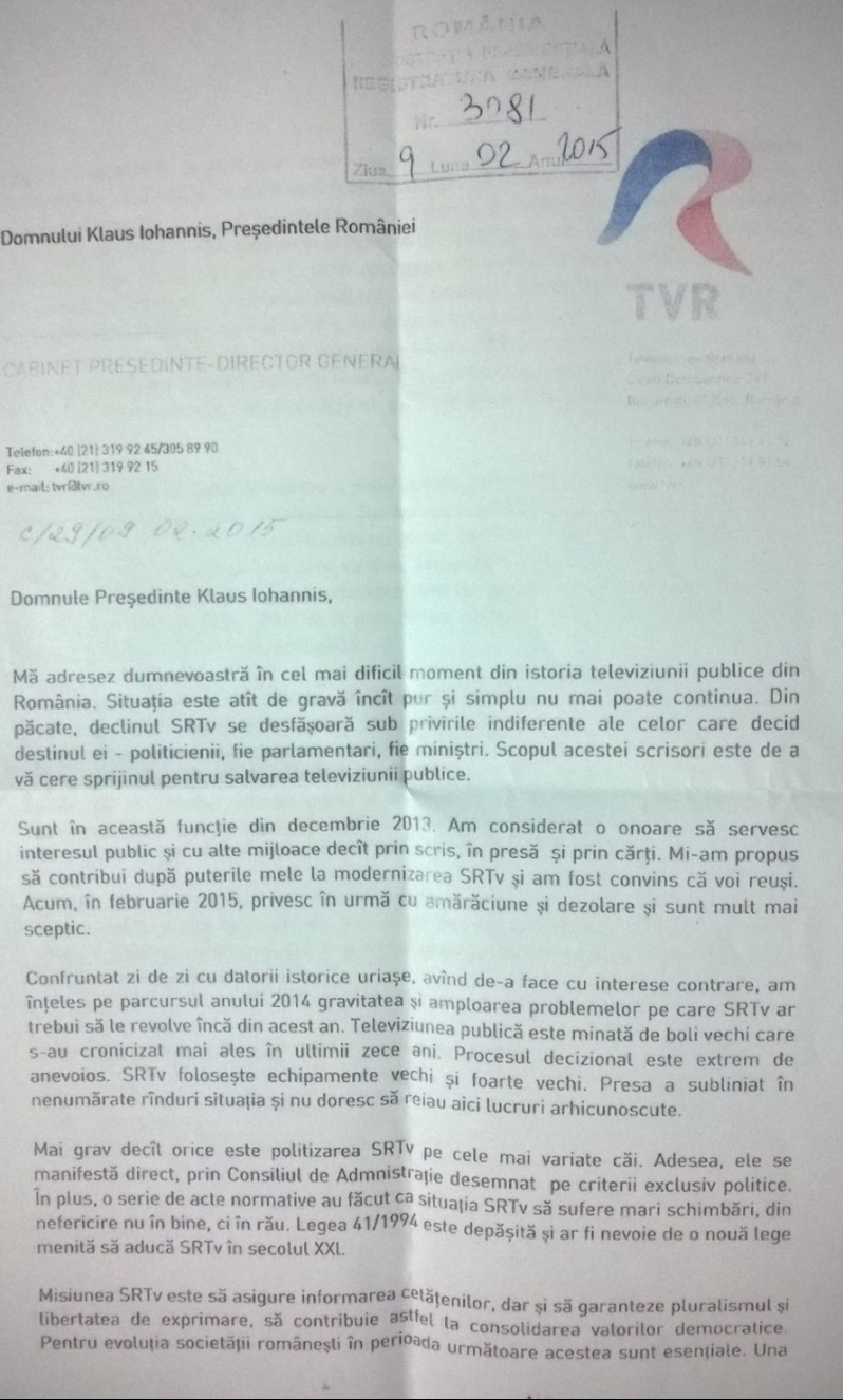 Scrisoare TVR