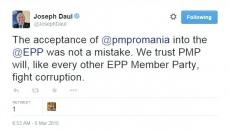 Joseph Daul, mesaj pe Twitter
