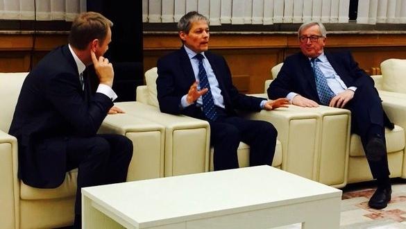 Dacian Cioloș, Donald Tusk și Jean Claude Juncker